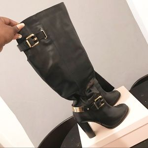 Black With Gold Belting Aldo Knee Boots